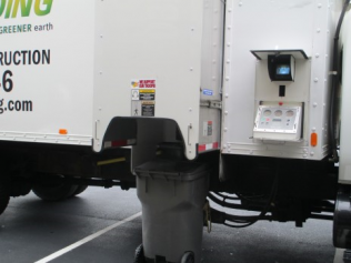 Customers can watch the document shredding process on the monitor on the side of the Shamrock Shredding truck